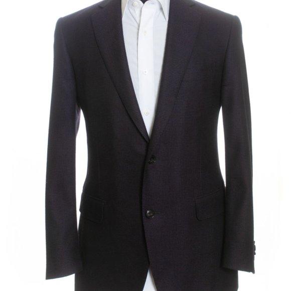 Pal Zileri Plum Step Weave Slim Fit Wool Blazer 40